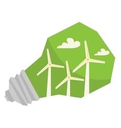Light bulb and wind turbine inside vector image