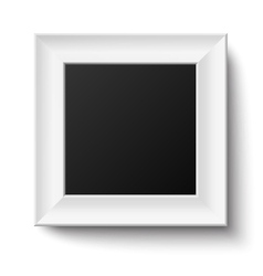 White wooden square frame isolated vector image