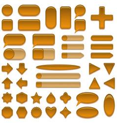 Wood glass buttons set vector