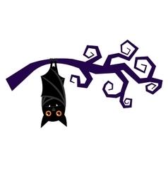 Cartoon halloween bat hanging on tree branch vector image