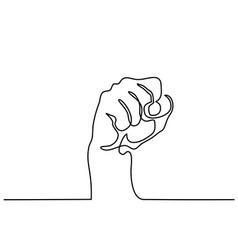 continuous line drawing of fist vector image