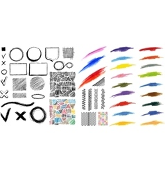 Design elements brush and pen strokes vector image