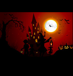 halloween background with silhouettes of children vector image vector image