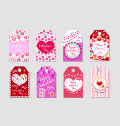 happy valentine s day tags set labels collection vector image