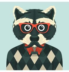 Hipster raccoon vector