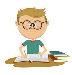 little nerd boy with glasses doing his homework vector image