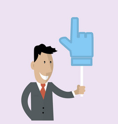 man is holding a thumbs up vector image vector image