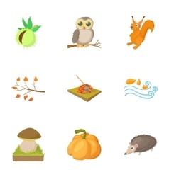 Season of year autumn icons set cartoon style vector image vector image