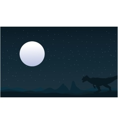 Silhouette of Allosaurus and moon landscape vector image vector image