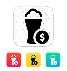 Beer glass with dollar icon vector image