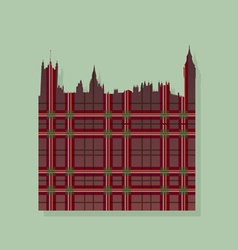 Contour of London against the Scottish ornament vector image vector image