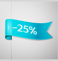 cyan ribbon with text twenty five percent discount vector image vector image