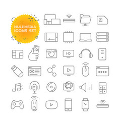 multimedia outline icon set pictogram set vector image vector image