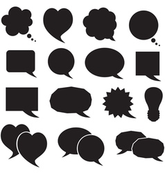 Set silhouette speech bubbles vector image