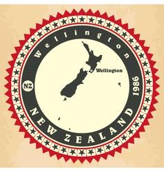 Vintage label-sticker cards of New Zealand vector image
