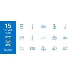 15 grass icons vector