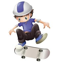 A young boy skating vector