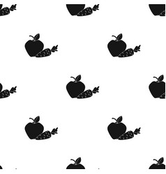 Apple with carrot icon in black style isolated on vector