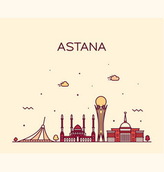 Astana skyline kazakhstan linear style vector