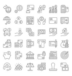 bank and financial icon flat design thin line vector image