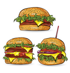 Banner with burger on the vector