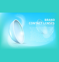 banner with contact lenses on blue background vector image