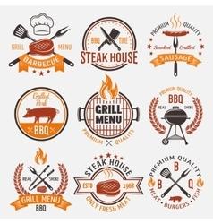 BBQ Retro Style Emblems vector image