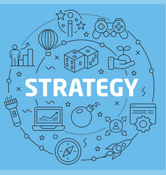 blue line flat circle strategy vector image