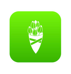 bouquet of tulip flowers icon digital green vector image