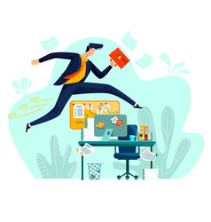 Business - running overcoming obstacles concept vector