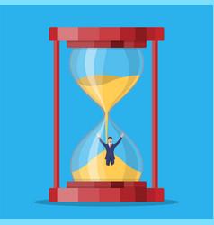 businessman stuck in sandglass vector image