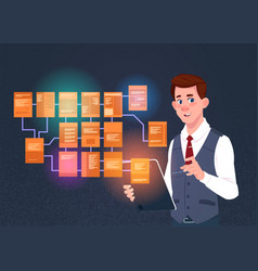 Businessman with laptop over site map suitable vector
