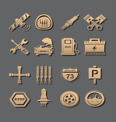 car set of icons vector image