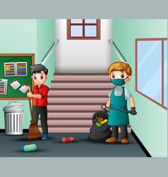 Cartoon janitor man cleaning school hallway vector