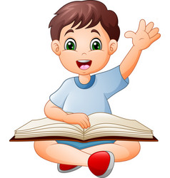 cartoon little boy reading a book vector image