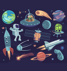 cartoon space set cute astronauts and ufo aliens vector image