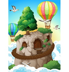Cave and balloons vector