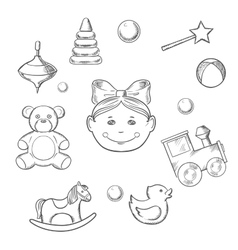 Childish icons with girl and toys vector
