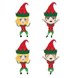 Children Dressed in Elf Costume vector image
