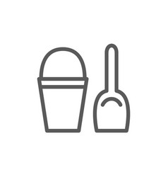 childrens bucket with spatula line icon vector image