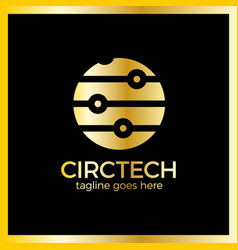 circle tech logo vector image