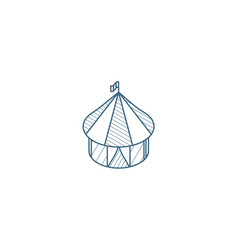 Circus tent isometric icon 3d line art technical vector