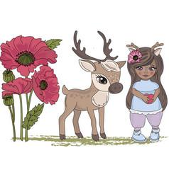 Clip arts deer girl color set vector