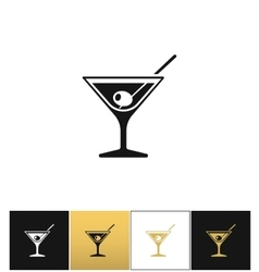 Cocktail glass sign with martini vodka and olive vector
