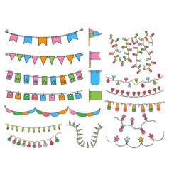Collection Of Hand Drawn Garlands vector image
