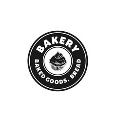 Cupcake bakery rounded label vintage logo designs vector