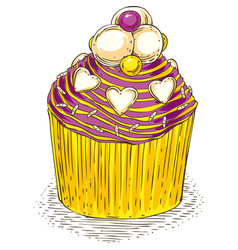 cupcake with color butter cream vector image