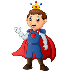 Cute boy with prince costume vector