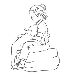 cute kid line art vector image