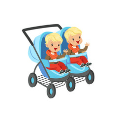 cute little boys sitting in a blue baby carriage vector image